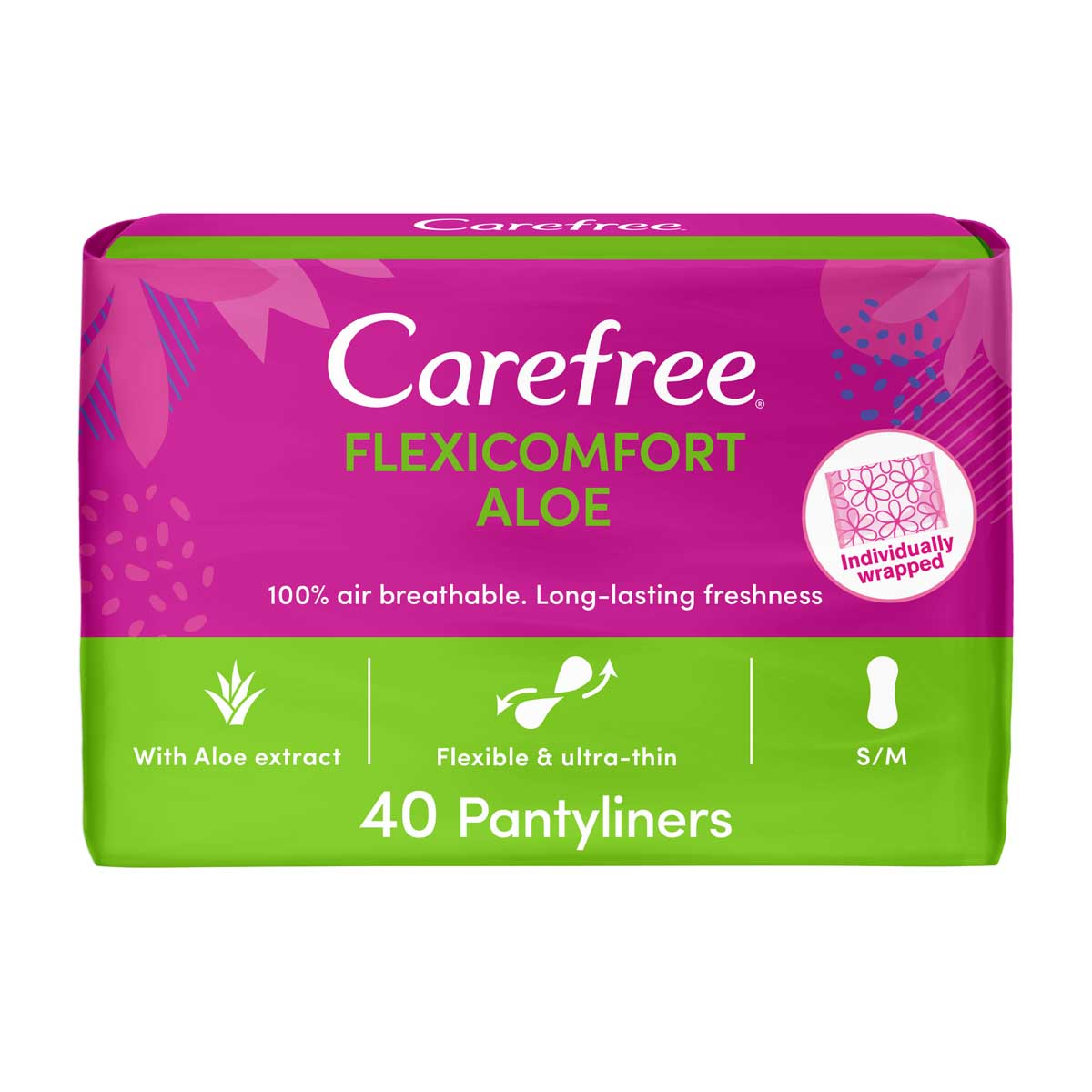 CAREFREE® | Panty Liners | FlexiComfort | Aloe | Pack of 40