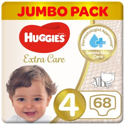 Huggies Baby Diapers Extra Care Size 4 Jumbo Pack - 68 Pcs